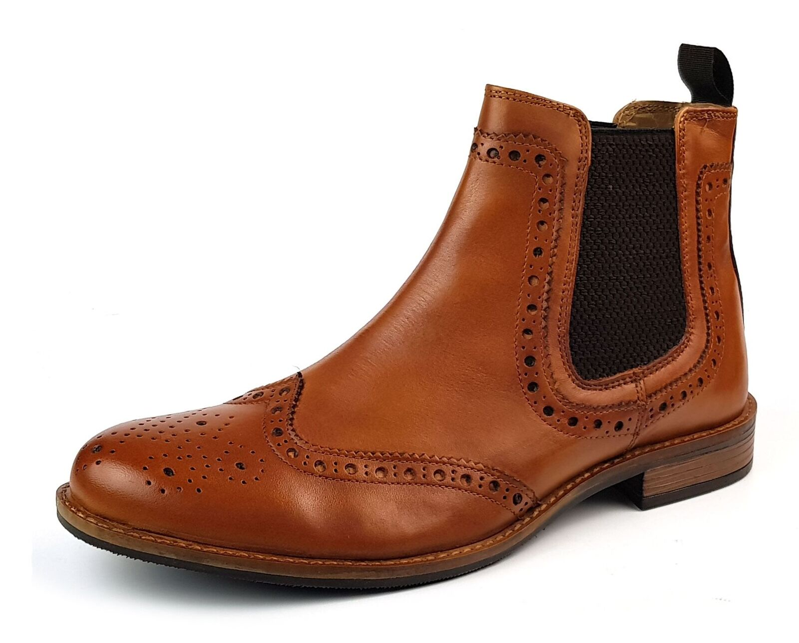 Roamers M143BT Leather Chelsea Pull On Mens Dealer Brogue Brogue Brogue Stiefel Tan    | Elegante und robuste Verpackung