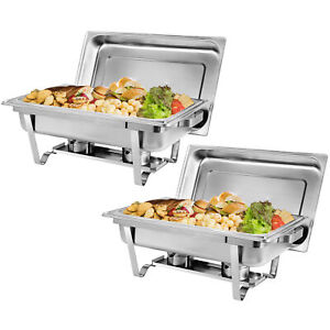 2 Pack of 8 Quart Stainless Steel Rectangular Full Size Chafing Dish Dinner