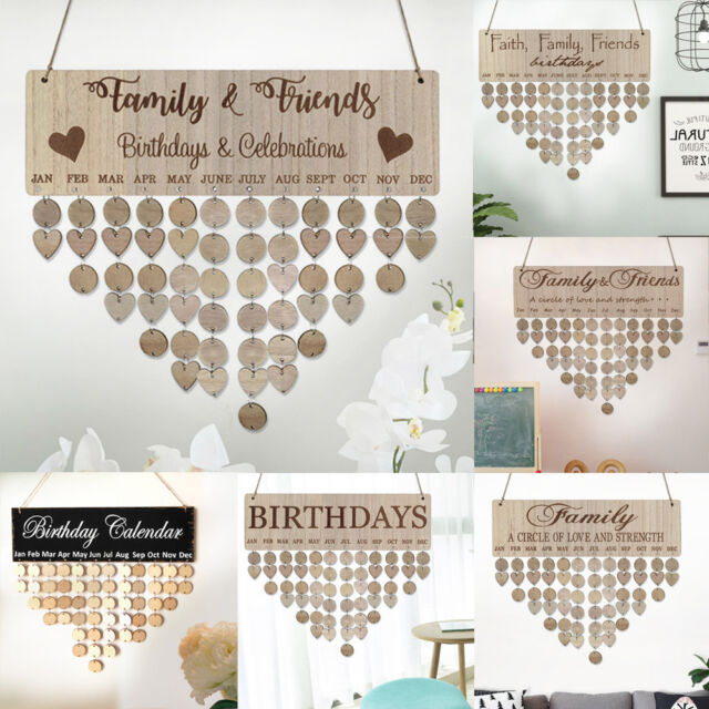 FAMILY 1 Set Wooden Hanging Plaque DIY Calendar Birthday Reminder