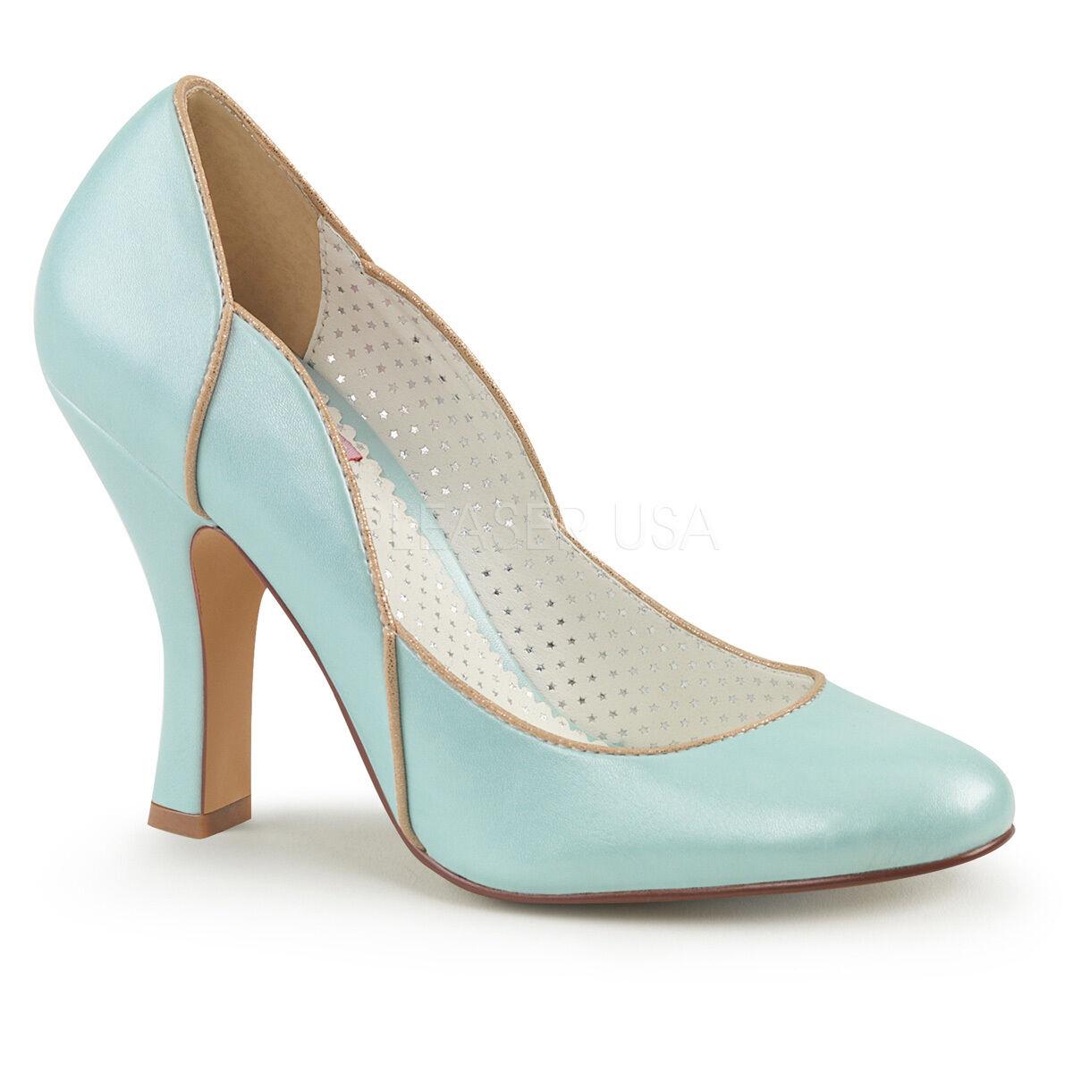 Sexy 4  High Heel Baby bluee Pumps shoes w  Wavy gold Trim Topline SMITT04 BBPU