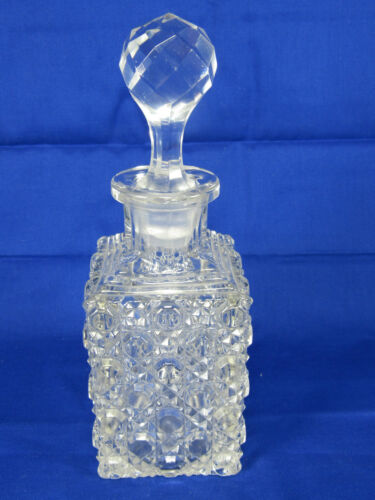 "Daisy & Button Pattern Pressed Glass Perfume Bottle+Stopper,7 12"" tall,Unmarked"