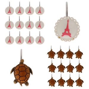 12pcs-Metal-Shower-Curtain-Rings-Window-Curtain-Holder-Shower-Hooks-Towel-Turtle