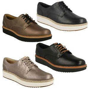 Détails sur Femmes Clarks Cuir Daim Chaussures à Lacets Décontractées Teadale Rhéa Taille