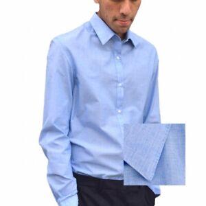 Para-hombres-Camisa-Formal-De-Manga-Larga-Azul-Slim-Fit-Camisas-Informales-De-Trabajo-Oficina