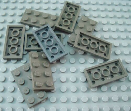 LEGO Lot of 10 Dark Gray 2x4 Flat Building Plate Parts and Pieces