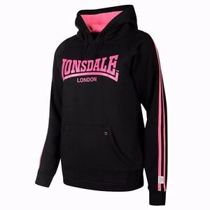 Lonsdale Women s 2 Stripe PO Pullover Hoodie - Size 8 (XS) - Black ... 65cfcf88a4