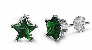 1 ct. Emerald Star Stud Earrings in Sterling Silver ~ MAY BIRTHSTONE