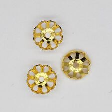 Bead Cap 8mm Open Flat Floral Style Goldtone Pack of 100