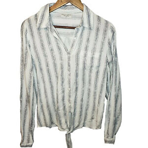 Dress-Forum-Long-Sleeve-Top-Striped-Button-Up-Tie-Front-Womens-Small