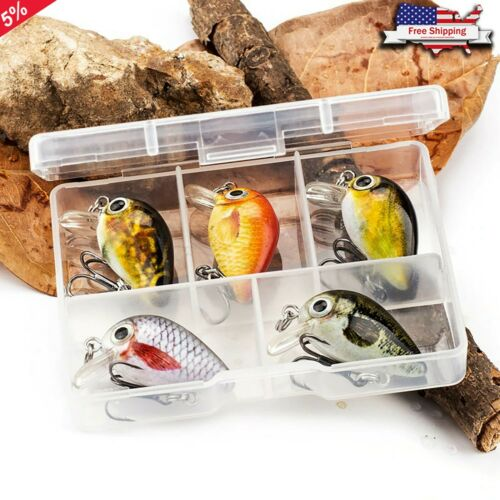 Mini Crankbaits Hard Fishing Lures 2.8cm 1.5g Trolling Baits 5pcs Small Lure