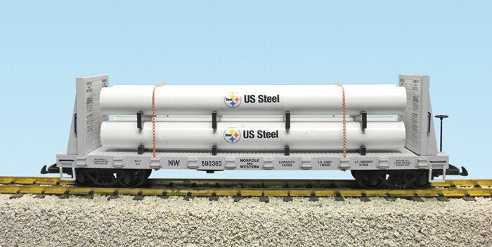 USA Trains Escala G 17611B coche plano de carga Tubo Norfolk Western Alcoa
