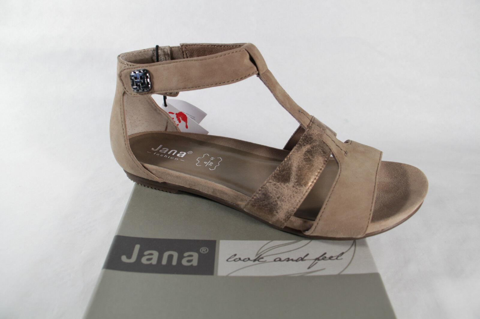 Último gran descuento JANA mujer sandalias beige, Suave Suela Interior Ancho H NUEVO