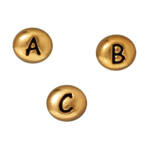 6.8 x 6mm TierraCast Letter Bead Antiqued Gold-Plated Lead-Free Pewter T905