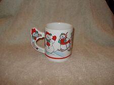"Christmas Holiday Coffee Mug McCory Stores Snowmen on Skis &Snowmobile 4"" x 3"""