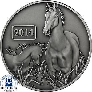 Tokelau-5-Dollars-Silber-2014-Jahr-des-Pferdes-Silbermuenze-in-Antique-Finish