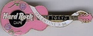 Hard-Rock-Cafe-TOKYO-1998-Valentine-039-s-Day-PIN-Roses-on-Pink-GUITAR-HRC-10102