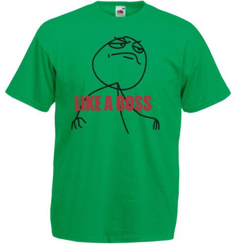 Internet meme inspired Men/'s Printed T-Shirt Funny Like a Boss
