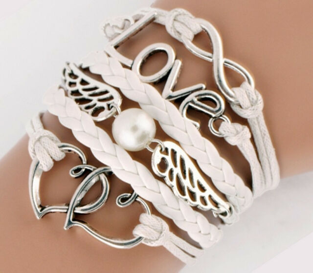 NEW DIY Style Jewelry fashion Leather Cute Infinity Charm Bracelet Silver SL166