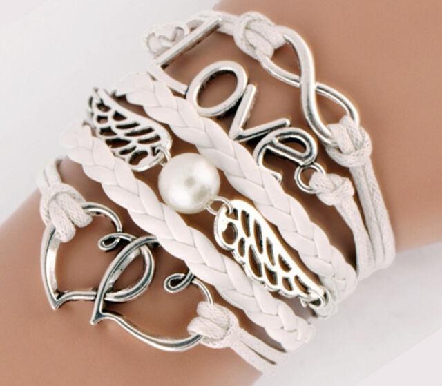 NEW DIY Style Jewelry fashion Leather Cute Infinity Charm Bracelet Silver SL166