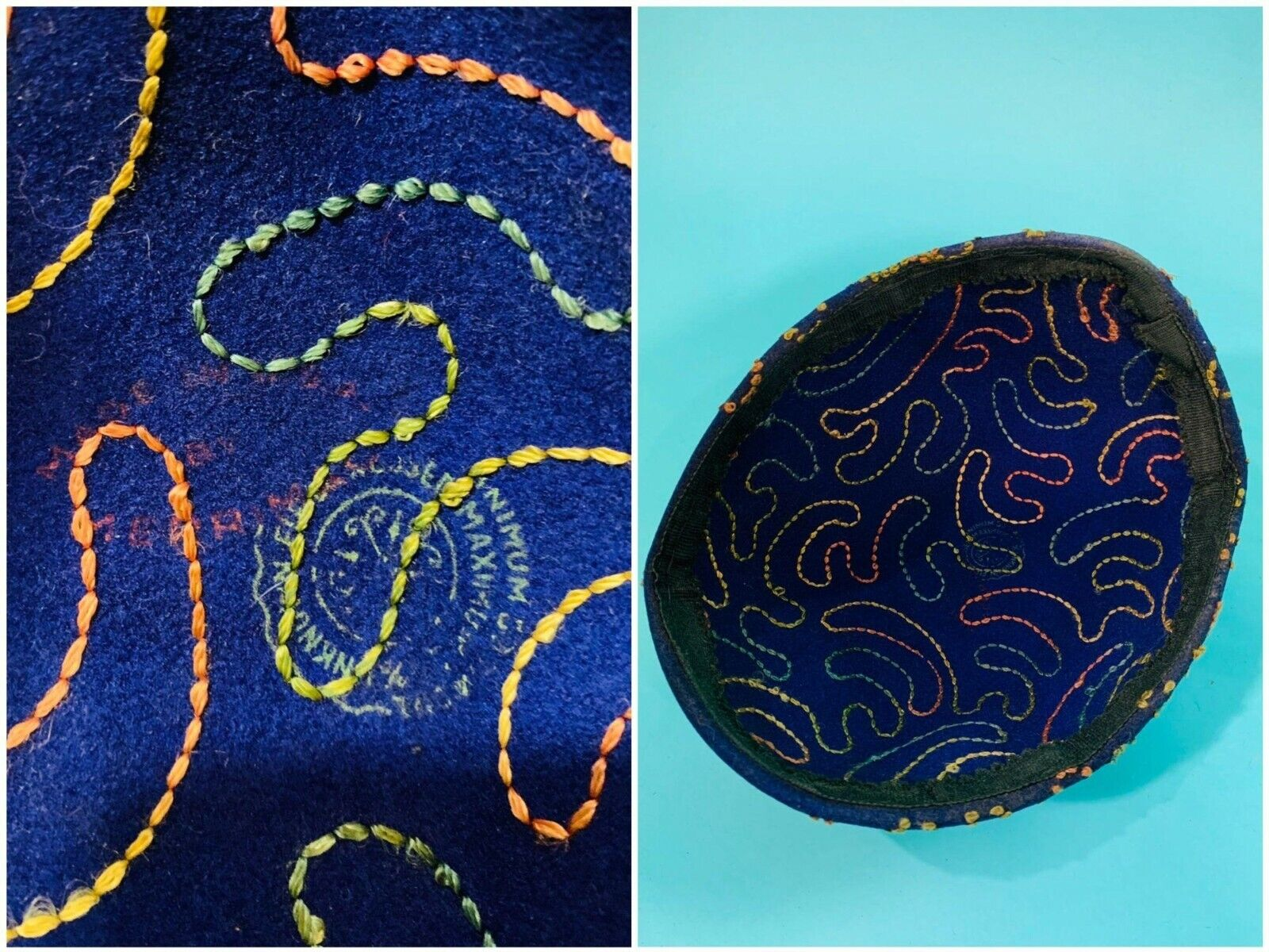 Vintage 1940s Swirl Hat Purple Colorful Stitched … - image 9