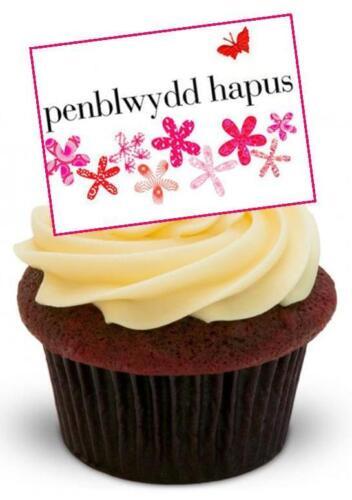 Nouveauté penblwydd hapus Papillons Roses 12 DEBOUT comestibles gâteau Toppers anniversaire