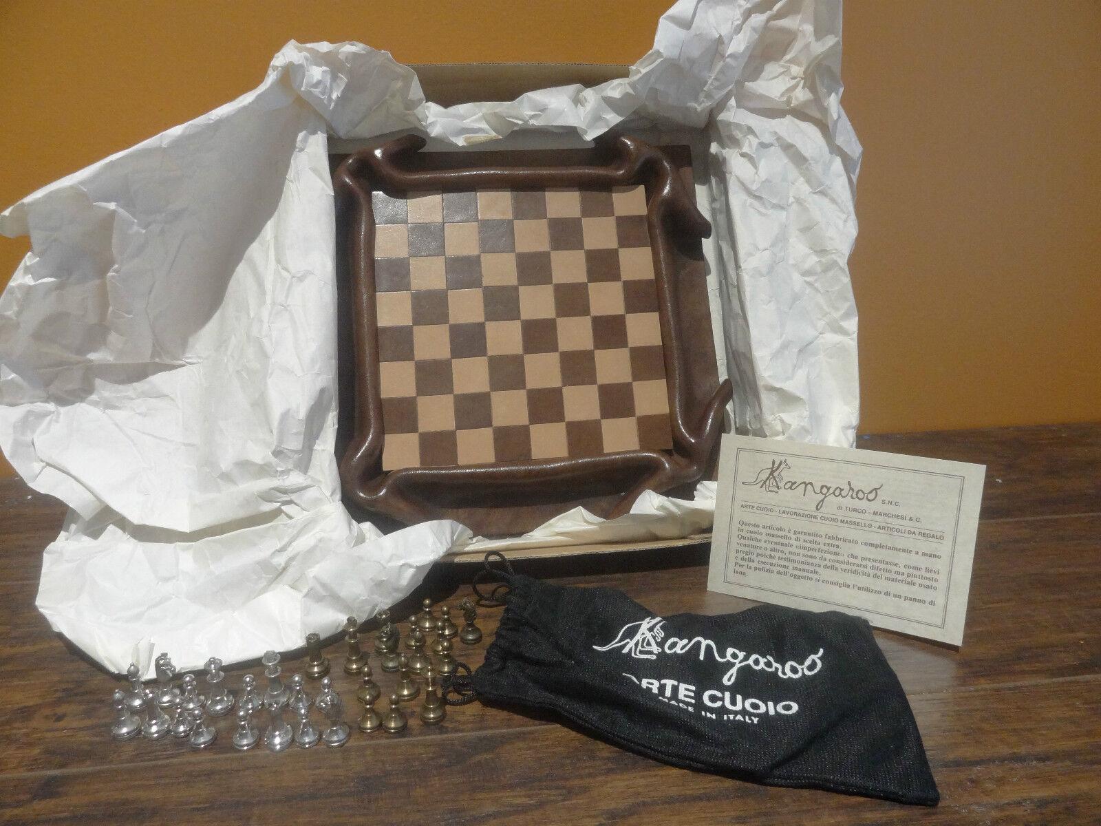 Raro Hecho a mano en Italia Cuero De Canguro Ajedrez Damas Moldeado arte conjunto de tablero de juego