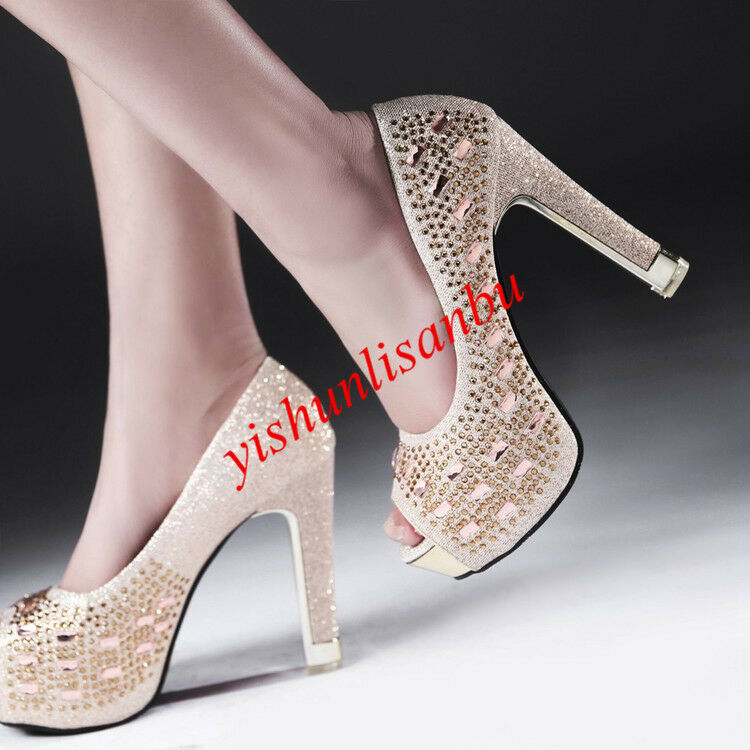 Wedding Stiletto Platform Open Toe Slip On Elegant Women shoes New Hollow Out NW