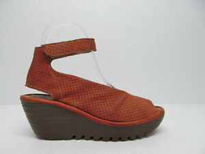 FLY-London-Women-039-s-YALA-Orange-Perforated-Leather-Wedge-Sandals-Size-36