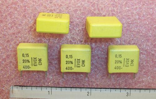 QTY .15uf 400V 20/% METALLIZED POLYCARBONATE CAPACITORS CMK15-154M400L4 EVOX 25