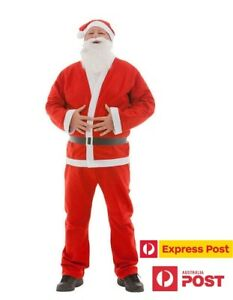 Mens Santa Claus Costume Dress Santa Suit Christmas Party Outfit for Adult Male