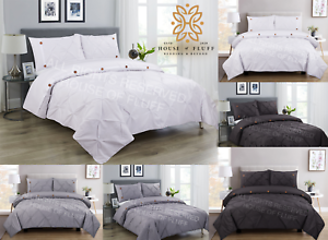 Pintuck-Pinch-Pleated-Duvet-Cover-Bedding-Set-Single-Double-King-With-Pillowcase