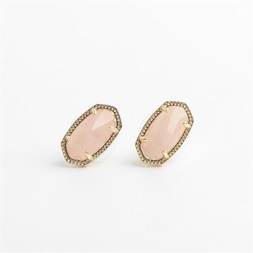 Kendra Scott Ellie Gold Tone Stud Earrings in Rose Quartz w Dust Bag
