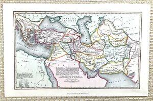 1845 Antik Map Of Alte Persien Die Mittlere East Alte Hand- Farbig Gravur