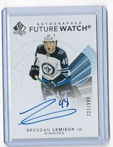 2017-18 SP Authentic hockey Future watch auto /999 Brendan Lemieux Winnipeg Jets