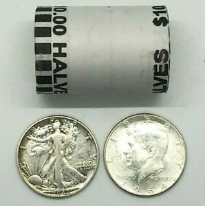 12 Lot of FRANKLIN and 1964 KENNEDY 90/% Silver Half Dollars WALKING LIBERTY