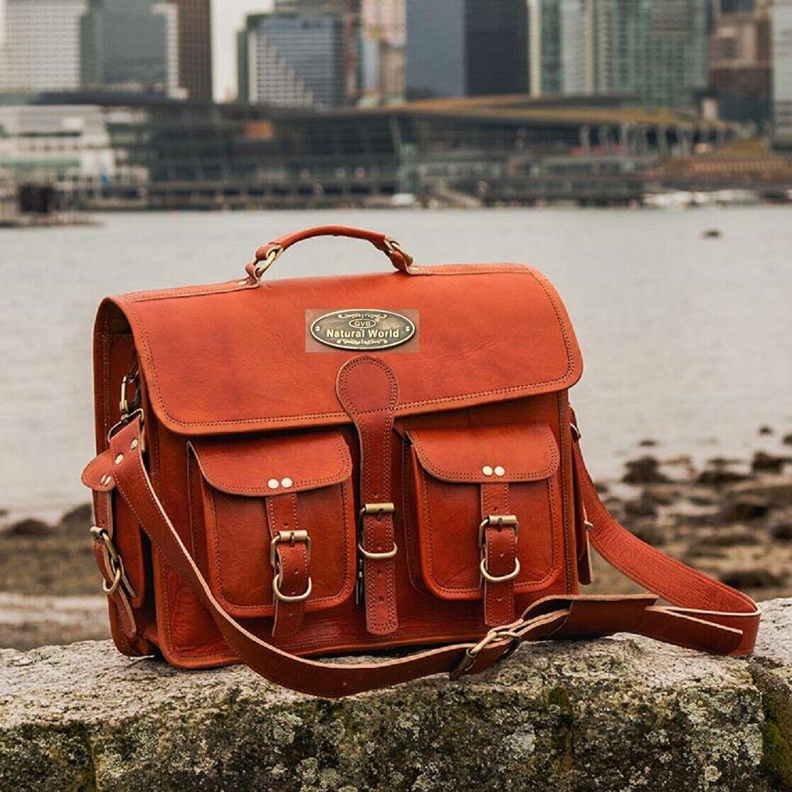 New Men's Leather Vintage Laptop Messenger Briefcase Bag Satchel (18 Inch Brown)