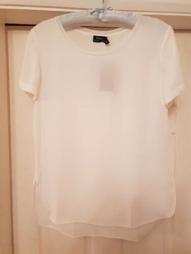 40 £ Bnwt Polo Ralph Rrp 150 Top Bianco Lauren Silk pollici Mulberry vaawq4