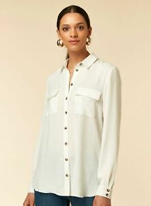 Brand-New-Ex-Wallis-Front-Pocket-Collared-Ivory-White-Linen-Look-Shirt-8-18