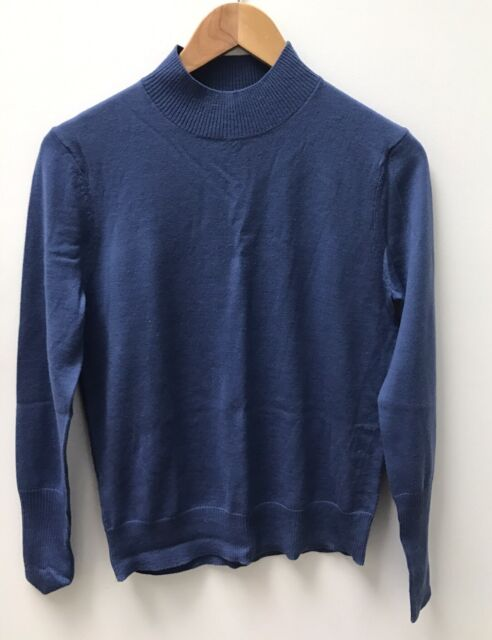WILLOW Blue Ladies Extra Fine Merino Wool Jumper Size Large
