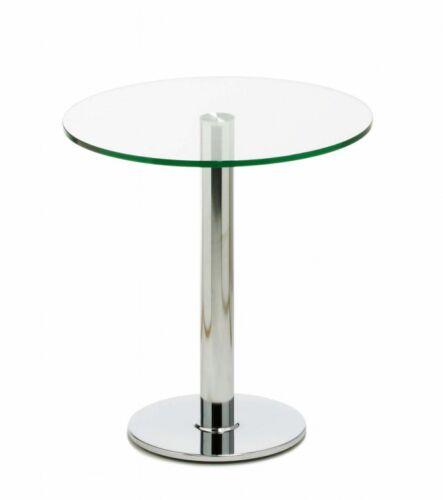 Mayer 3026 Bistrotisch Eßtisch Metall Chrom Klarglas Glas satiniert Rund 70 cm