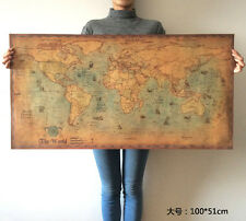 Map Of The World Poster Retro Nautical Maps Antique Kraft Decorative Paintings