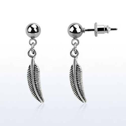 Dangling Silver Bird Wing Helix Jewelry Single Stud Cartilage Feather Wing USA