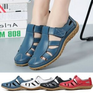Summer-Women-039-s-Sandals-Flat-Round-Toe-Slip-on-Beach-Hollow-Out-Casual-Boat-Shoes