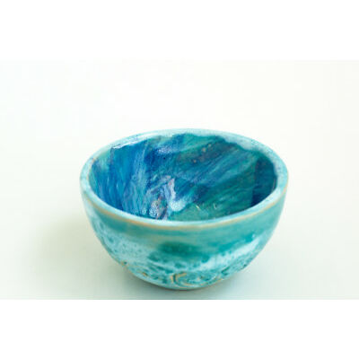 Ceramic Blue Tea Bowl Abstract Pattern Handmade Pottery Unique