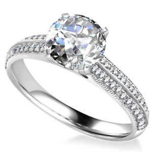 Solid 14kt White gold Ring Brilliant Round Cut 2.02 Ct Diamond Engagement Rings