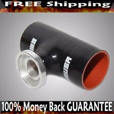 """2.5"""" BLACK Silicone SSQV Type Flange Adapter for Toyota Acura Mazda BMW"""