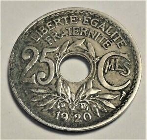 Francia 25 céntimos, 1920-agujero-moneda-Lindauer - roble-ss/vf