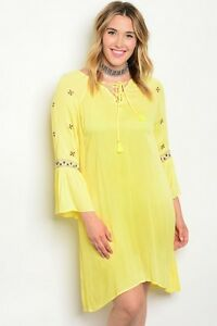 Details About Women S Plus Size Yellow Boho Inspired Tuinc Dress With Bell Sleeves Xl 1xl Nwt