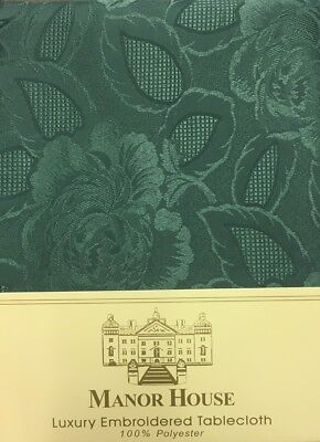 "WHITE LACE STYLE FLORAL ROSES OBLONG TABLECLOTH 178cm x 228cm 70/"" x 90/"" ELEGANT"