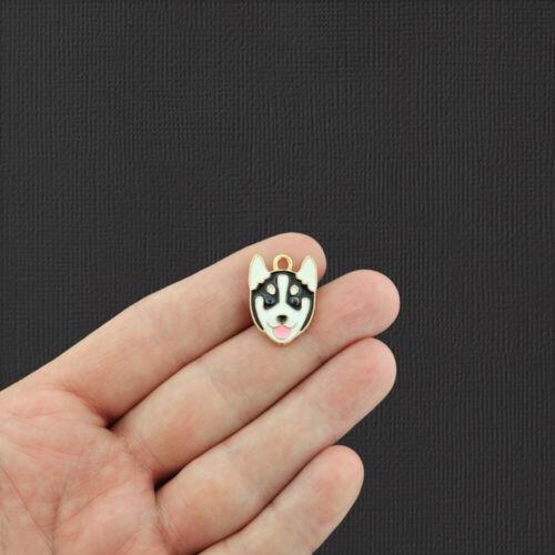 E927 2 Husky Dog Gold Tone Enamel Charms